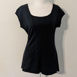 Women's Indigenous Short Sleeve Black T-shirt with Raw Edges Size Medium